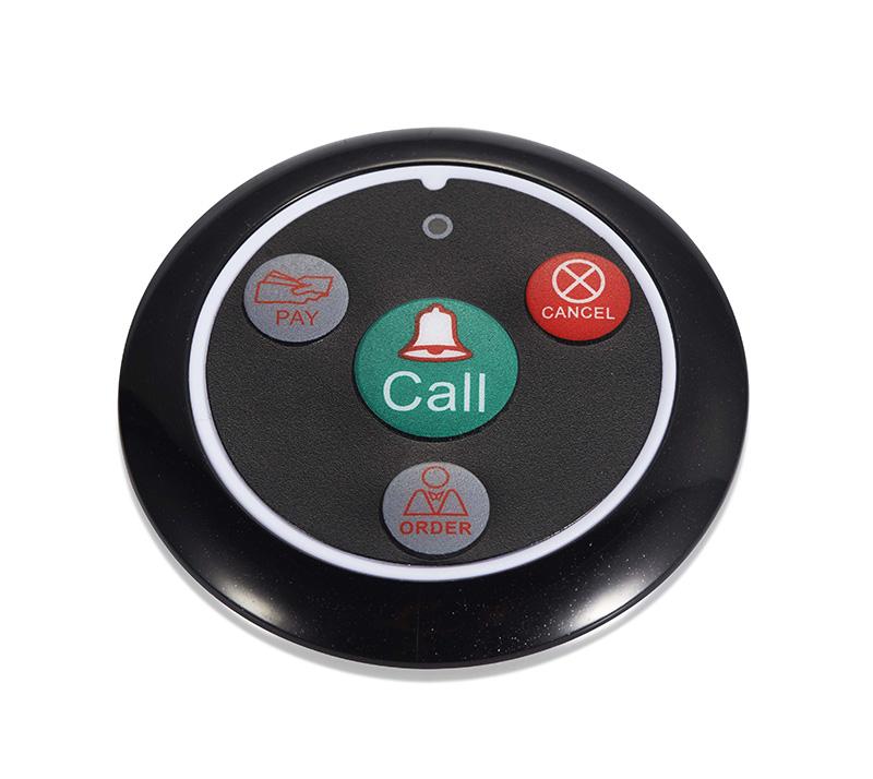 przyciski przywołujące, przycisk czarny współpracujący z zegarek kelnerski służący do przywoływania kelnera