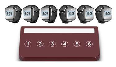 systemy przywoławcze w restauracji widać przycisk sześcioklawiszowy brązowy i sześć zegarków kelnerskich na rękę
