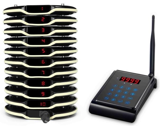 systemy przyzywowe - 10 krążków oraz transmitera bazy służącej do wpisywania numeru klienta