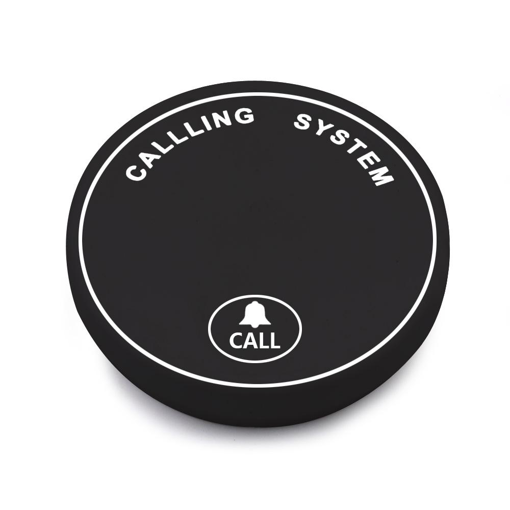 czarny przycisk z jednym guzikiem call, system przywoławczy bezprzewodowy