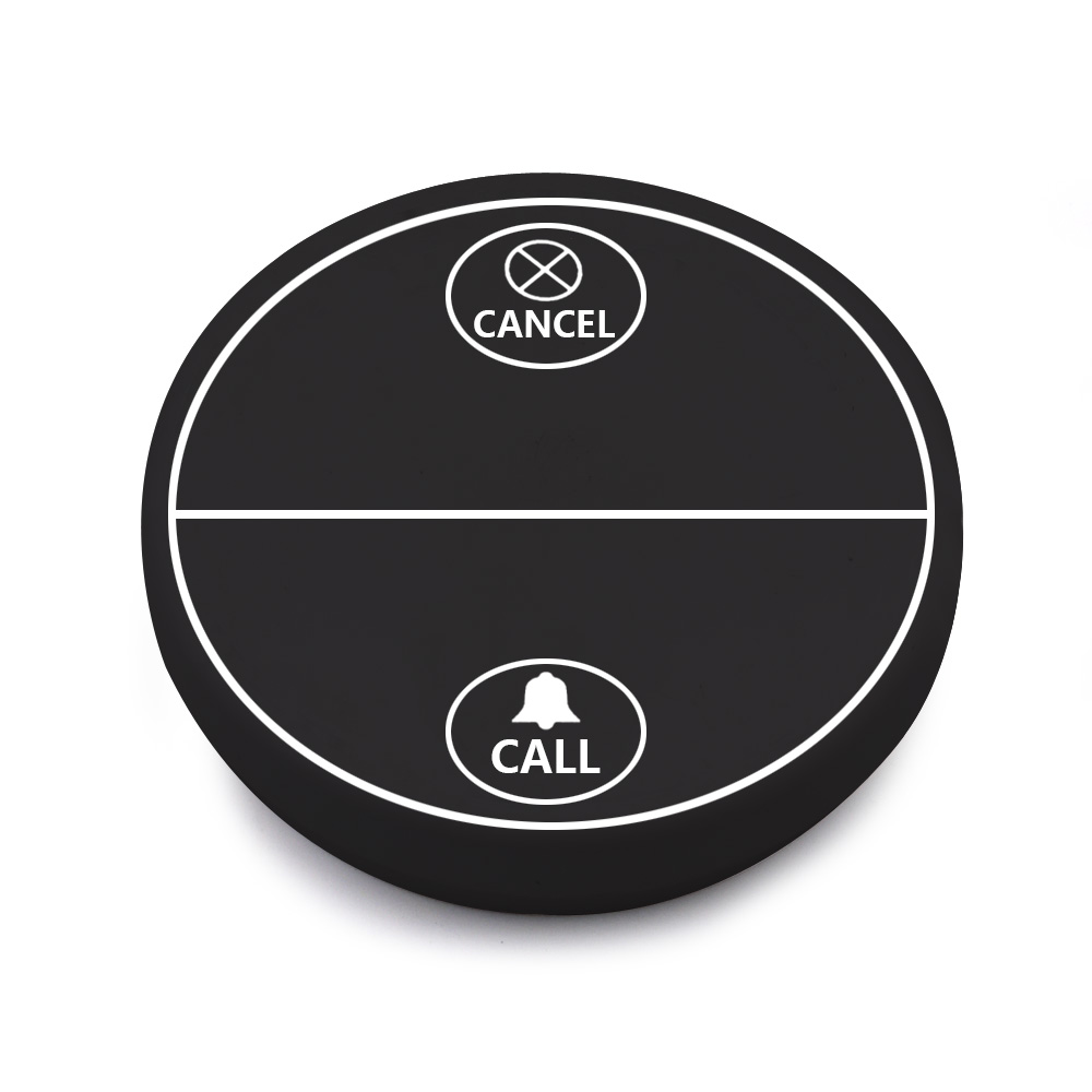 systemy przywoławcze, przycisk czarny z guzikiem call oraz guzikiem cancell
