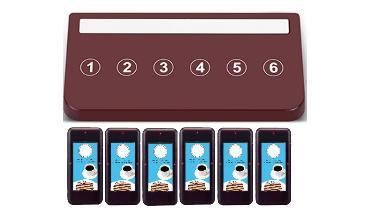 systemy przywoławcze w restauracji , widać pager dla kelnera w ilości 6 sztuk i nadajnik sześcioprzyciskowy brązowy