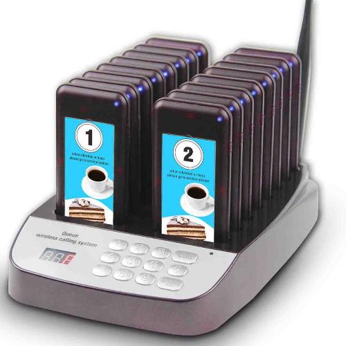 System przywoławczy składajacy się z bazy nadajnika i 16 pager dla klienta